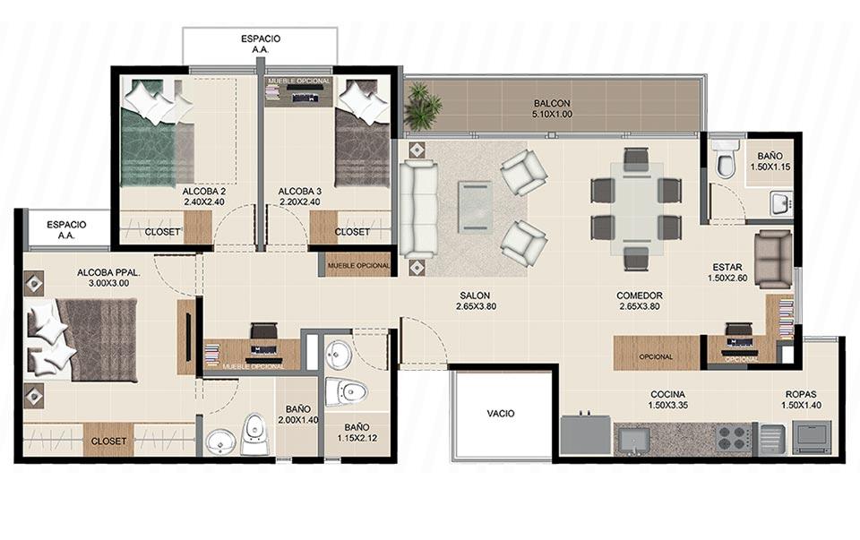 Neos Alameda - Apartamento tipo tres
