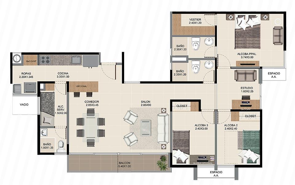 Neos Alameda - Apartamento tipo uno